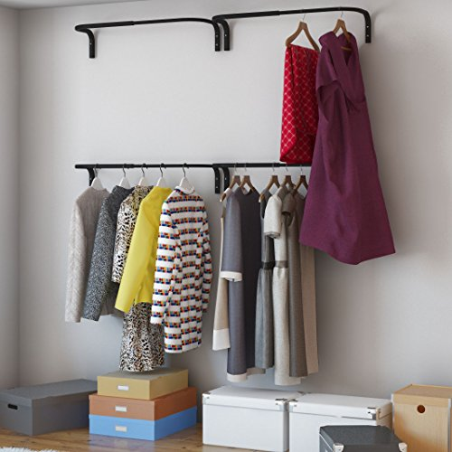 Adjustable Double Hanging Closet Bar Rail Organization System Durable Steel Construction Buyer Receives 4 Bars - Rail Black Clothes