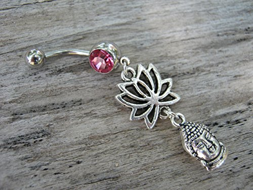 Lotus Flower Buddha Belly Button Ring, ROSE PINK Barbell Ball Crystal, Antiqued Silver Buddhist Hindu Body Piercing Jewelry - Antiqued Rose Ring