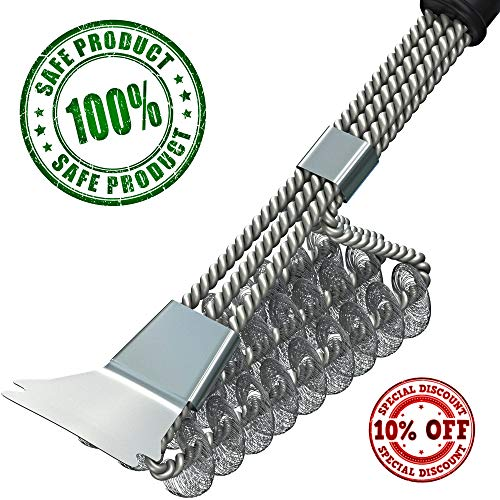 Grill Brush – BBQ Brush – BBQ Grill Cleaning Brush with Scraper – Grill Cleaner – Safe Bristle Free Barbecue Grill Brush for Porcelain Propane Electric Infrared Stainless Steel Gas ()