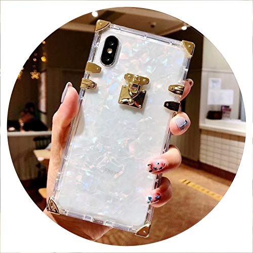Fashion Square Clear TPU Case for iPhone X XS MAX XR Luxury Bling Metal Conch Pink Back Cover Case for iPhone 6 6s 7 8 Plus,White,for iPhone XR