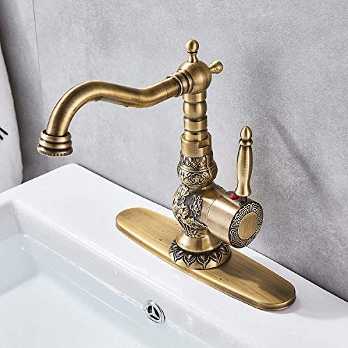 Senlesen Antique Brass Swivel Spout Bathroom Faucet Vanity Sink Mixer Tap and Pop Up Drain with Overflow