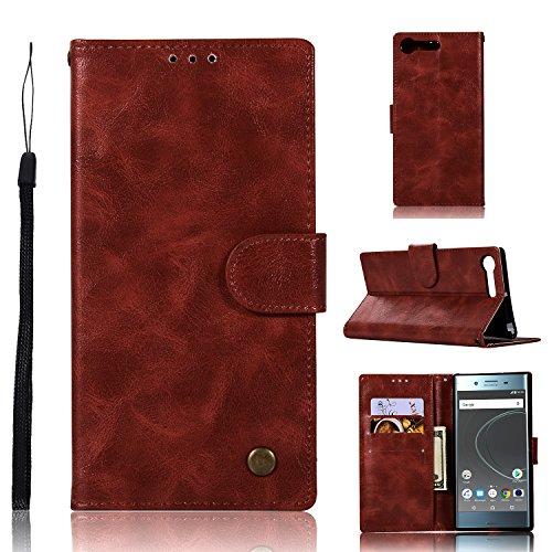 J&H Sony Xperia XZ Premium Case, Sony Xperia XZ Premium Wallet Case, Vintage Synthetic Leather Case with Magnetic Closure for 5.46'' Sony Xperia XZ Premium