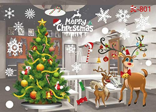 D.F.L Christmas Window Clings Decal Wall Stickers Removable Winter Wonderland Decorations Xmas Party Santa and Snowman Decorations Supplies 21.6'' X 15''(801)]()