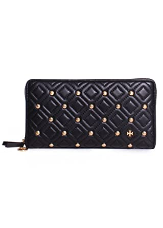 watch b57b9 caaca Tory Burch Fleming Leather Stud Quilted Zip Continental Wallet in ...