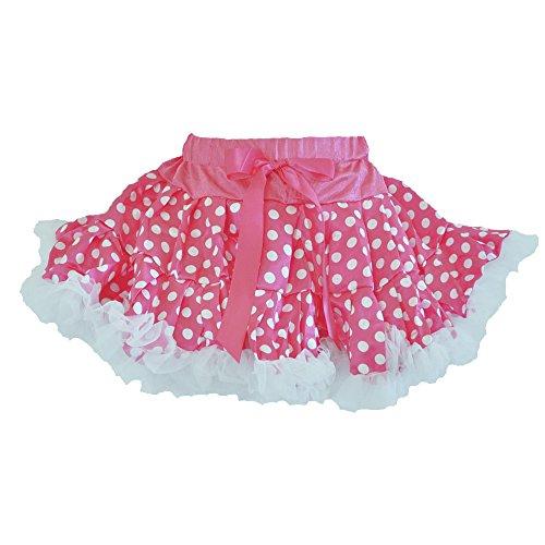 Minni Polka Dots Pink/White 2 Layers Skirt with White Ruffle Trim (Small) -