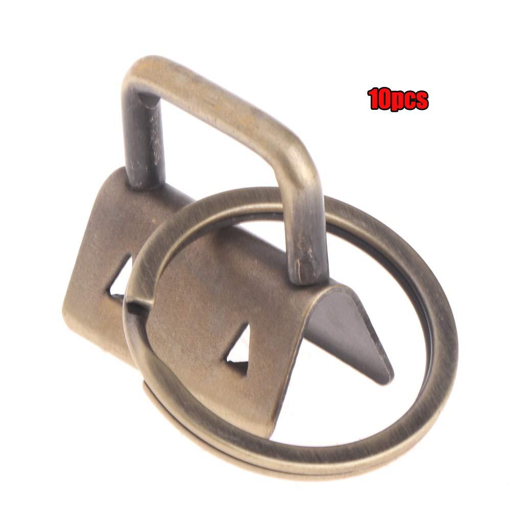 JunYe 10Pieces Key Fob Hardware 25mm keychain Split Ring For Wrist Wristlets Cotton Tail Clip Silver