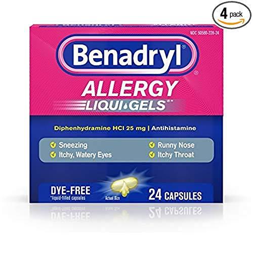Benadryl Allergy Liqui-Gels Dye-Free - 24 ct, Pack of 4 Benadryl Dye Free Allergy Relief