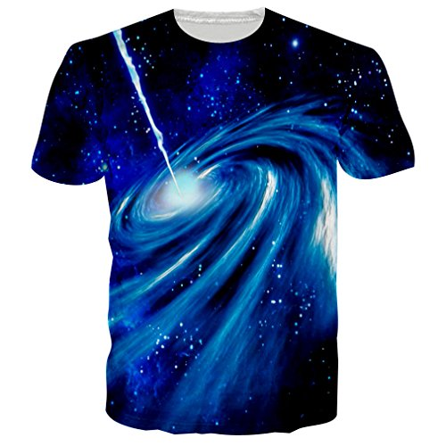 RAISEVERN Unisex Galaxy Space Printed Hip Hop Style T-Shirts Tees Clothes, Galaxy Space, US X-Small / Asian Medium