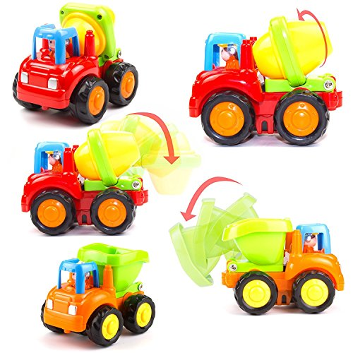 51ovGct RxL - Woby Push and Go Friction Powered Car Toys Set Tractor Bulldozer Mixer Truck and Dumper for Baby Toddlers