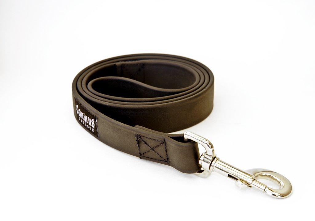 Caninus Collars Vegan Faux Leather Leash - 1'' Width Leash (4 FT, Black) by Caninus Collars
