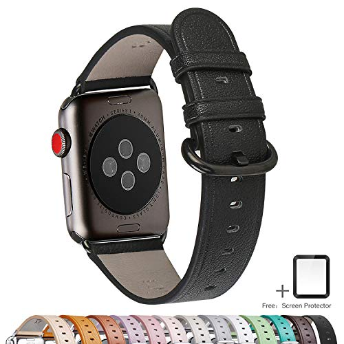 LOVLEOP Compatible iwatch Band, Kraft First Layer Leather Band Replacement Strap with Stainless Steel Clasp for iWatch Series 3,Series 2,Series 1,Sport, Edition (Black Band + Black Buckle, 42mm)