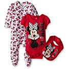 Disney Baby Minnie Mouse 3 Piece Layette Set, Red, 3-6 Months