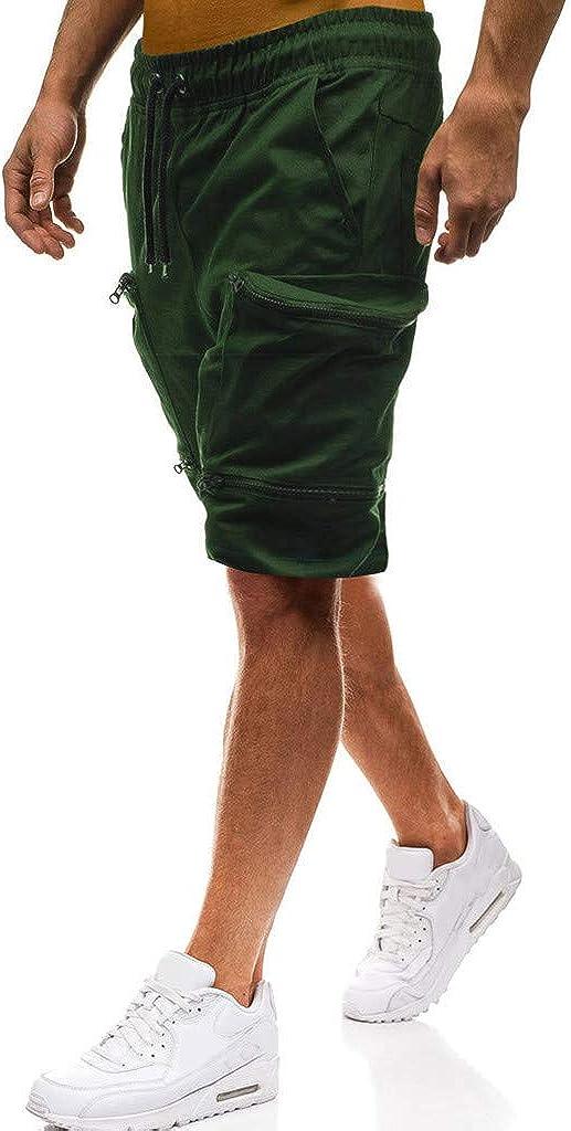 Pantalones Cortos para Hombre Verano Cargo Shorts Chinos Bermuda Deporte Short Pantal/ón Sweatpant Gym Leisure El/ástico Regular Algod/ón ZOELOVE Joggings Deportivos s/ólidos Bolsillos Holgados