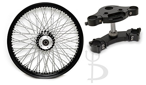 "DEMONS CYCLE COMBO: 23"" x 3.5"" 80 Spoke Black Billet Hub Front Wide Glide Wheel and Billet 7 Raked Triple Trees for Harley Davidson FL Dresser Dual Disc"