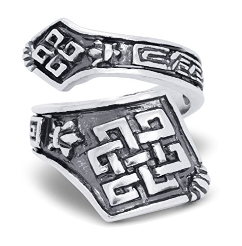 (Silver-Wear Swirls Sterling Silver Antique Finish Adjustable Celtic Knot Pattern Spoon Style Ring )