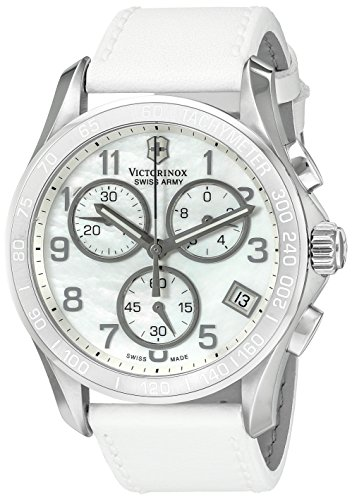 - Victorinox Swiss Army 241418 Chrono Classic Watch with Mother-of-Pearl Dial and White Leather Strap