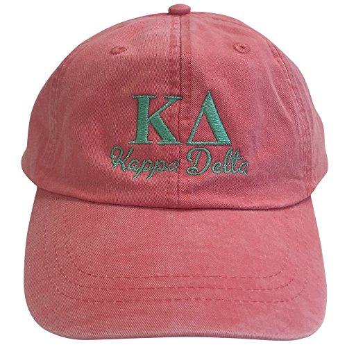 Kappa Delta (S) Coral Designer Sorority Baseball Hat Greek Letter Sports Cap with Sea Foam Thread One Size Adjustable - Strap Frat