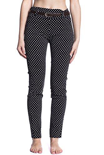 Abbino 6001 Pantalones para Mujeres - Hecho en ITALIA - Colores Variados - Fashion Elegante Entretiempo Primavera Verano Otoño Encanto Casual Sensibilidad Rebajas Clásico Atractivo Cordón Algodón Negro (Art. 6013)