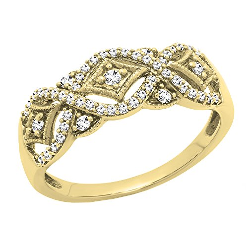 Dazzlingrock Collection 0.33 Carat (ctw) 10K Round Diamond Ladies Vintage Style Wedding Band 1/3 CT, Yellow Gold, Size 9