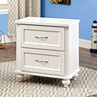 Furniture of America CM7322WH-N Lacey White Nightstand, 24 H
