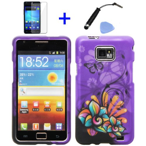 4-items-Combo-Stylus-Pen-Screen-Protector-Film-Case-Opener-Graphic-Case-Purple-Butterfly-Orange-Pink-Green-Color-Daisy-Flower-Design-Rubberized-Snap-on-Hard-Shell-Cover-Faceplate-Skin-Phone-Case-for-A