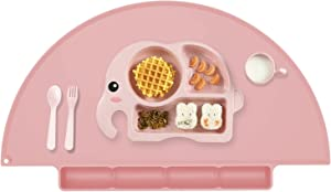 Kids Placemat with Food Catching Tray, Strong Suction Baby Placemats for Kids Toddler Children Reusable Non-Slip Table Mats, Baby Food Mats for Restaurant (Baby Pink)