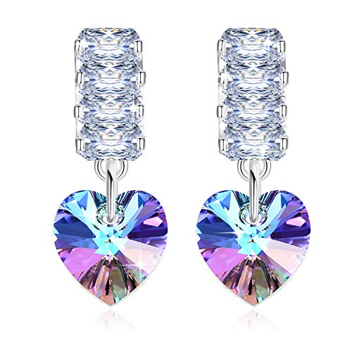 Heart Swarovski Crystals Dangle Earrings for Women Girl 925 Sterling Silver Jewelry Mother Wife Birthday Festive Present 1 Pair with Gift Box - GUE8 Purple