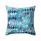 Freshzone Novelty Super Soft Fish Scale Skin Pillow Case Cover, Decor Sofa Cushion Cover 18''x18'' (B)