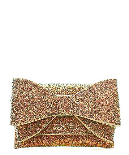 Glitter Bow Patent Clutch Evening Shoulder Bag (Womens Bow Clutch)