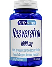 Resveratrol Capsules 1000mg Serving - 180 Capsules - Full 3 Month Supply - Antioxidant Trans Resveratrol Supplement Helps Support Anit-Aging and Cardiovascular System