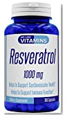 Resveratrol 1000mg 180 Capsules - 3 Month Supply - Best Value Antioxidant