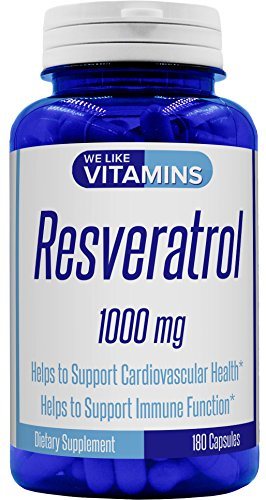 Resveratrol Capsules 1000mg Serving (Non GMO & Gluten Free) - 180 Capsules - 3 Month Value Supply - Antioxidant Trans Resveratrol Supplement