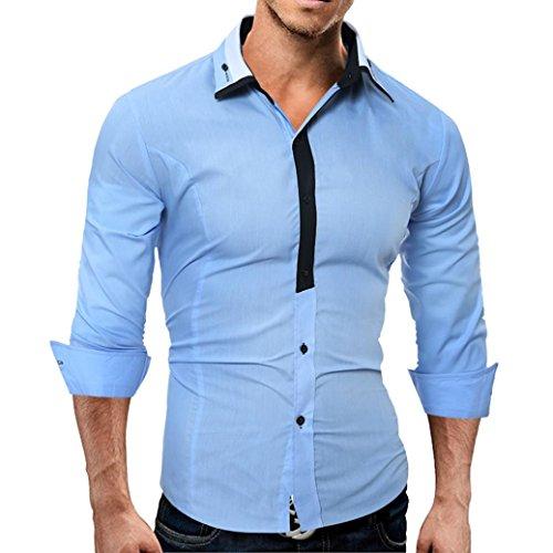 Larga Casual Camisas Azul Camisa Sólido De Hombre Masculino Moda hombres Manga Color Tops fwRnvfq8