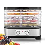 Hosmat Electric Food Dehydrator Machine 5-Tray Food Preserve for Beef Jerky, Fruit and Vegetable Dryer w/BPA Free Trays and Digital Temperature Setting