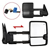 Scitoo Power Heated Led Signal Side Mirrors Black For 2003-2006 Chevy/GMC Silverado/Sierra (07 Classic models) Towing Mirror Pair