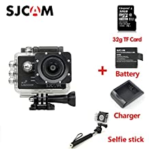 Original SJCAM SJ5000X Elite Sport Action Camera 4K 1080P WiFi Waterproof 170°Lens 12MP SONY IMX078 Gyro AV or HDMI Out And OSD Enabled with 32G TF Card Extra Battery Charger Selfie stick Black