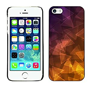 FECELL CITY // Duro Aluminio Pegatina PC Caso decorativo Funda Carcasa de Protección para Apple Iphone 5 / 5S // Triangle Purple Yellow Gold