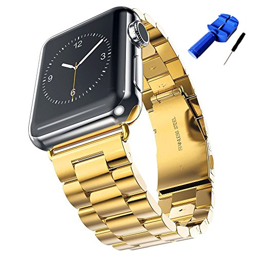 HUANLONG Apple Watch Band, Latest Solid Stainless Steel Metal Replacement 3 Pointers Watchband Bracelet with Double Button Folding Clasp for Apple Watch Iwatch (gold 38mm) (Apple Pointer Pointers)