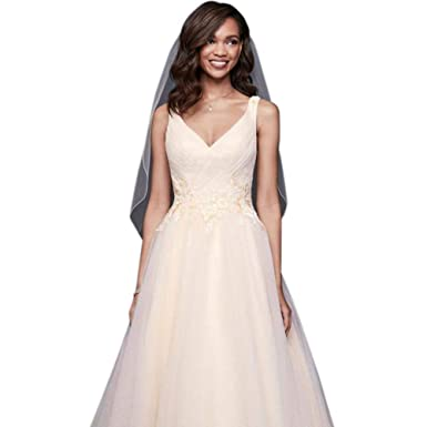 4658a887ac3 Appliqued Glitter Tulle A-Line Wedding Dress Style WG3930 at Amazon Women s  Clothing store