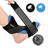 Plantar Fasciitis Night Splint by Comsoul - Foot Brace for Sleep Support - Spiky Massage Ball for Relieve Plantar Fasciitis Pain - Soft Foam Lining - Effective Relief from Heel, Arch Foot Pain