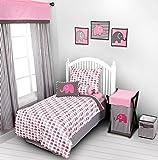Elephants Pink/Grey 4 pc Toddler Bedding Set