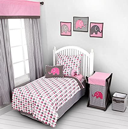 Elephants Pink/Grey 4 pc Toddler Bedding Set