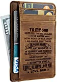 Toughergun Wife To Husband Father Mother to Son Gift Best Anniversary Christmas Birthday Gifts Slim Wallet (Mother to Son CH khaki)
