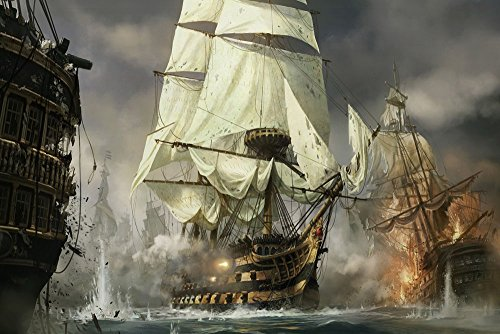 (Canvas Print Warships battle scenes Oil painting Picture Printed on canvas (No Stretch, No Frame) (24x36 inch))