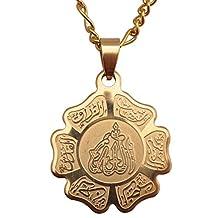 Engraved Gold Pt Allah Necklace Islamic Charm Gift Islam Muslim Quran God Chain