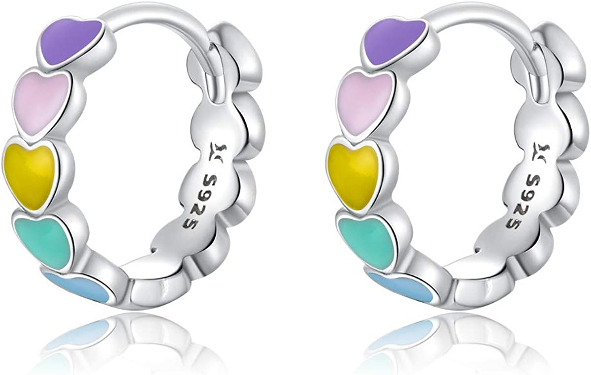 GDDX Pendientes de aro de plata de ley con dise/ño de coraz/ón de arco iris lindos pendientes de huggie para mujer para cart/ílago