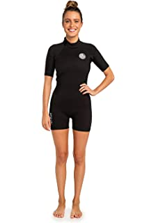 27e1a111aa RIP CURL Womens Dawn Patrol 2MM Back Zip Shorty Wetsuit Wetsuit Black - E5  Ultralite Neoprene