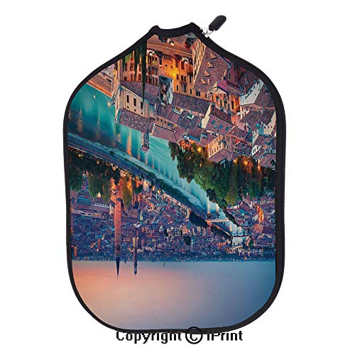 (Soft Neoprene Pickleball Paddle Cover Zipper Sleeve Protective Case,Verona Italy During Summer Sunset Blue Hour Adige River Medieval Historcal(size:8.23