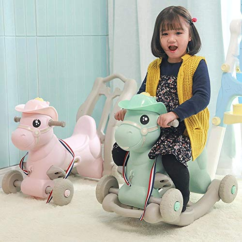 ZFF Rocking Horse with Wheels Baby Ride On Toy Rocker Toddlers Plastic Balance Training for 0.5-4 Months Child New Year Present (Color : Pink) -