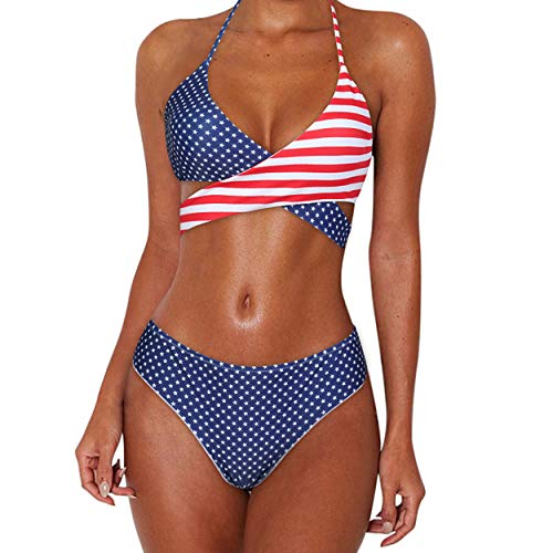 MOOSKINI Womens Padded Push-up Bikini Set Bathing Suits Two Pieces Swimsuit Navy Blue-2 Small -